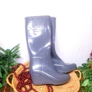 Hunter Wedge Tall Rubber Gray Boots Size 9